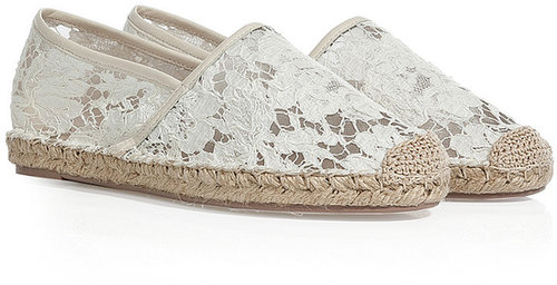 Valentino Lace Espadrilles in Ivory/Nude