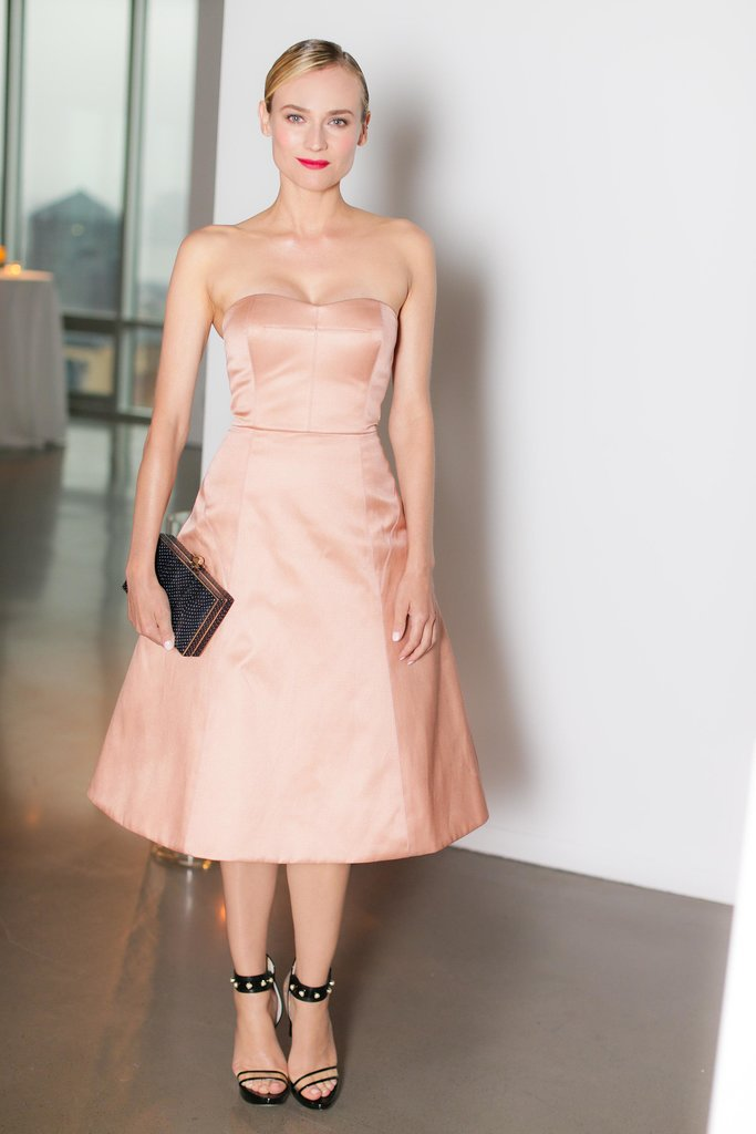 Diane Kruger was the picture of ladylike elegance in a tea-length, pastel strapless dress and a gorgeous red lip at Jason Wu's Summer Soiree to benefit ACRIA.  Source: David X Prutting/BFAnyc.com