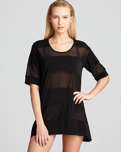J. Valdi Crepe Swimsuit Cover Up Top with Power Mesh Inserts Swim