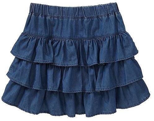 Tiered ruffle denim skirt