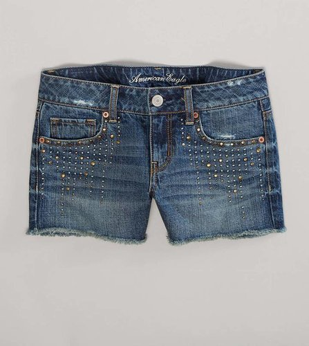 AE Studded Denim Midi Short