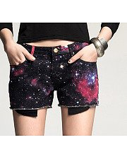 The fantasy color printing and dyeing short casual pants shorts