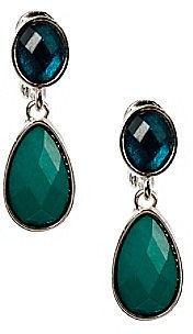 Napier® Silvertone and Blue Multi Colored Double Drop Clip Earrings