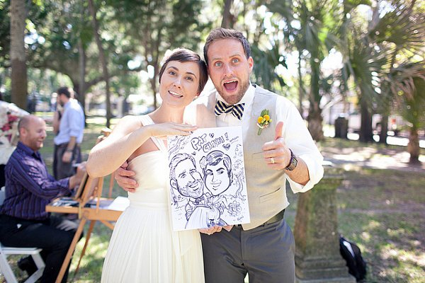 Get Cartooned Try this twist on the photo booth and hire an artist to draw caricatures of your guests! Photo by Ben Sasso via Ruffled