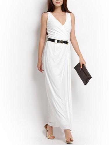 2013 New Style White Long V-Neck Dress
