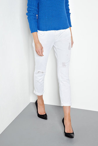 J Brand Denim White Aiden Distressed Mid-rise Boyfriend Jeans