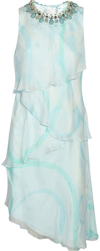 Mikael Aghal Beaded printed silk-chiffon dress