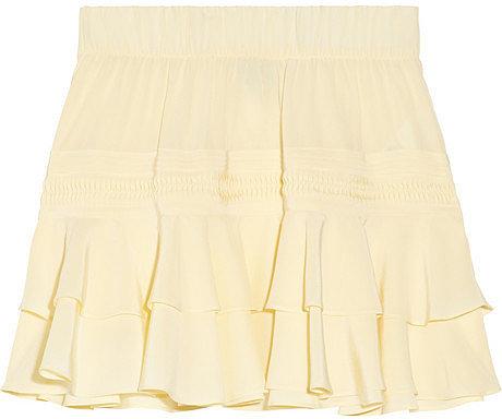 Skaist-Taylor Ruffled washed-silk mini skirt