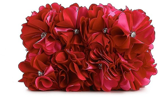 Lulu Townsend Satin Flower Covered Minaudiere Clutch