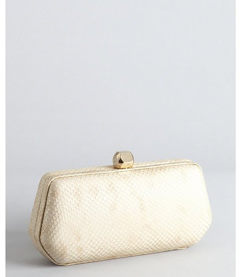 Rebecca Minkoff light gold snake embossed leather 'Fling' convertible minaudiere clutch