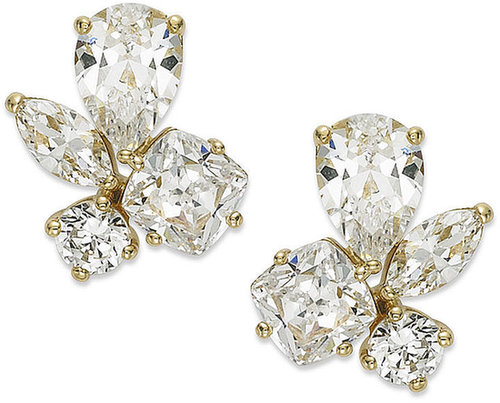 Eliot Danori Earrings, 18k Gold-Plated Cubic Zirconia (4-1/2 ct. t.w.) Cluster Stud Earrings