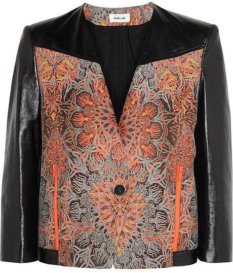 Helmut Lang Medallion jacquard and leather jacket