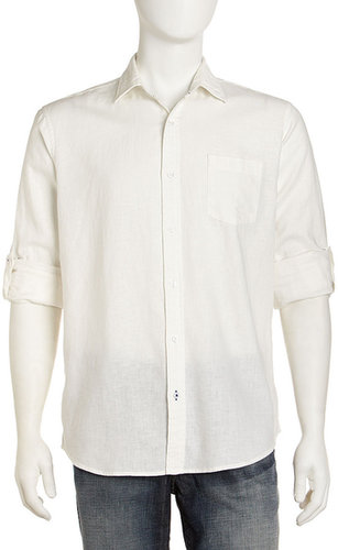 Neiman Marcus Linen Dress Shirt, White