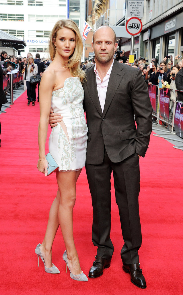 Rosie Huntington-Whiteley wore an Emilio Pucci dress to join Jason Statham on the red carpet in London.
