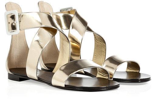 Giuseppe Zanotti Gold Ankle Strap Flats