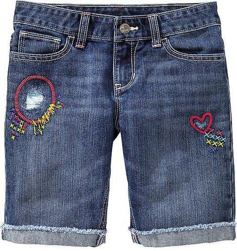 Girls Embroidered-Graphic Denim Bermudas