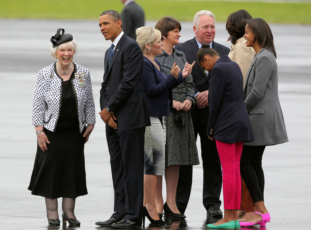 In June, the Obama family was greeted when they arrived in Belfast, Ireland, for the G8 summit.
