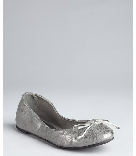 French Follies bronze cracked faux suede 'Addy' bow ballet flats