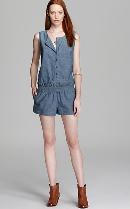 A denim romper, like this one by Adriano Goldschmied ($134, originally $168), will keep you laid-back and cool. Add sandals or booties for extra flair.