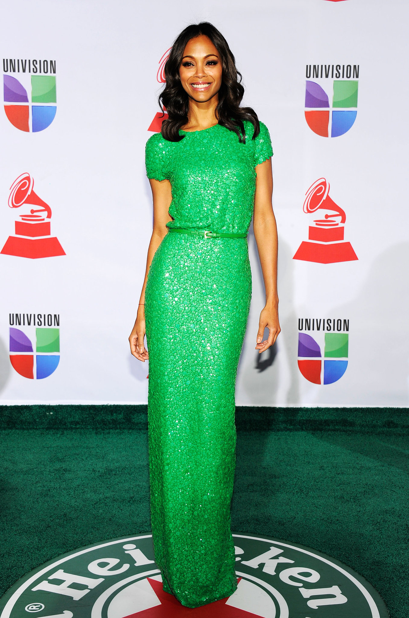 We couldn't think of anyone better to wear this sequined kelly-green Elie Saab gown than Zoe — her 2011 Latin Grammy Awards gown made us green with envy.