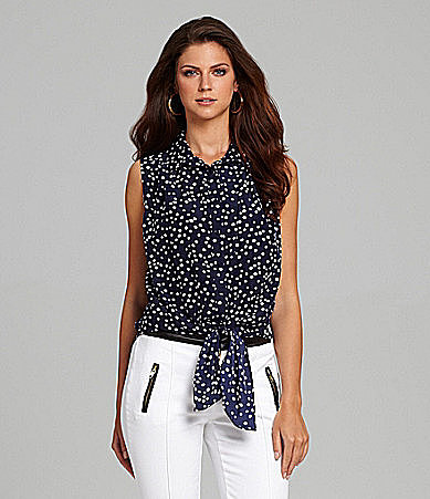 Gibson & Latimer Polka-Dot Tie-Front Blouse