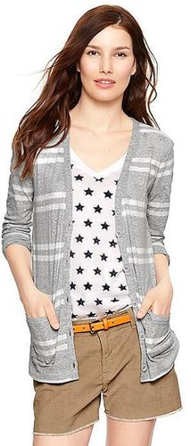 Shoreline slub striped cardigan