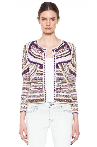 Isabel Marant Weston Lurex Cotton Crochet Cardigan in Violet