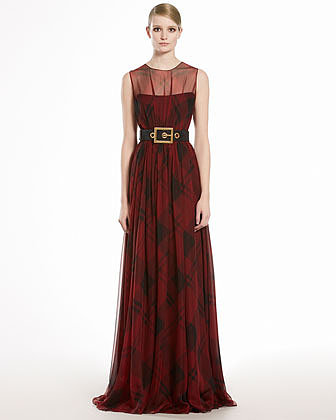 GUCCI Check Printed Silk Chiffon Gown