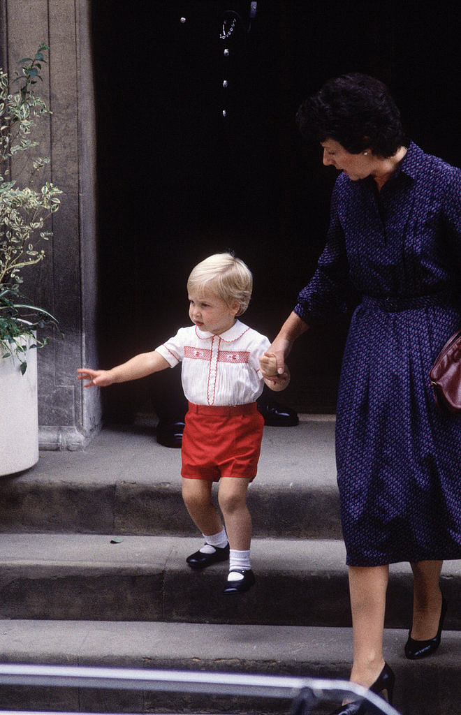 In Sept. 1984, Prince William held his nanny's hand as he left St. Mary's Hospital after visiting his newborn baby brother, Prince Harry.