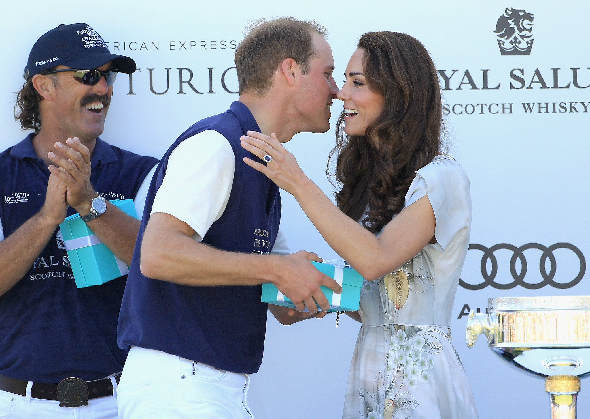 Kate Middleton congratulated Prince William following a July 2011 polo match in California.
