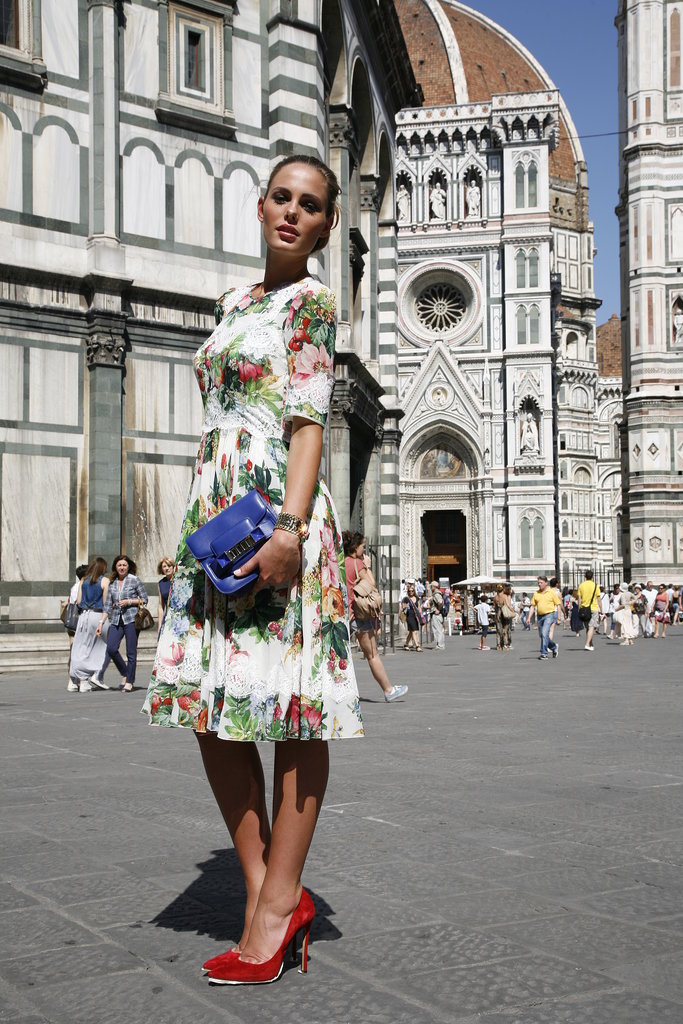 The iconic graphic lines of the Duomo in Florence provided the perfect backdrop for our shoot.