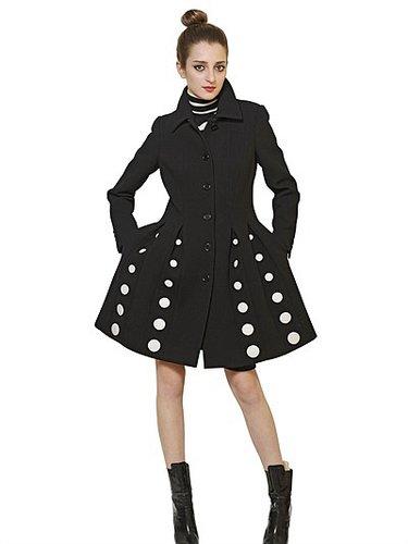 Heavy Wool Crepe Polka Dot Coat