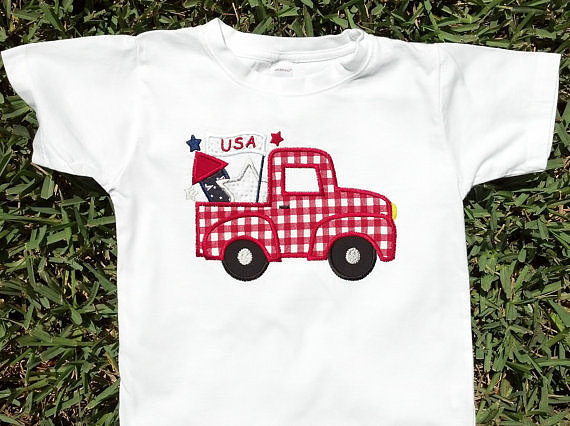 The old-fashioned vibe of Emmerlus Designs's embroidered tee ($19) lends itself well to the patriotic holiday.