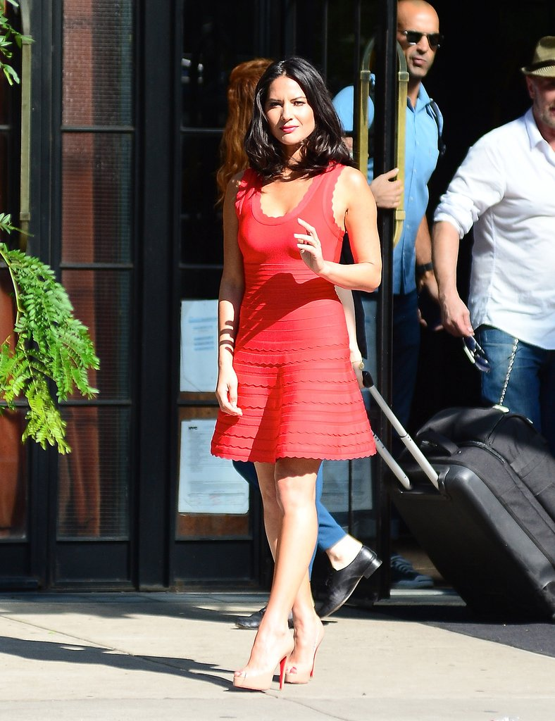Olivia Munn worked a LRD (little red dress) that walked the line between sexy and sweet while out in NYC.