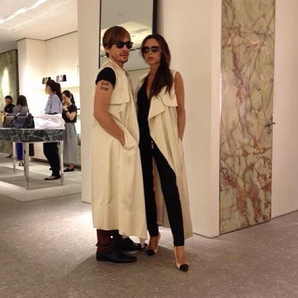 """Victoria Beckham shared a photo of her and her pal Ken Paves during a shopping trip in Beijing with the caption: """"Who wore it best?"""" Source: Instagram user victoriabeckham"""