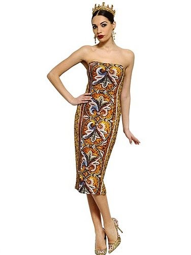 Mosaic Printed Crepe Cady Dress