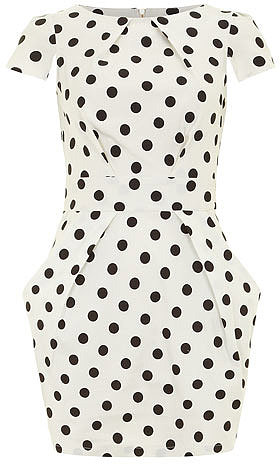 Ivory polka tie back dress