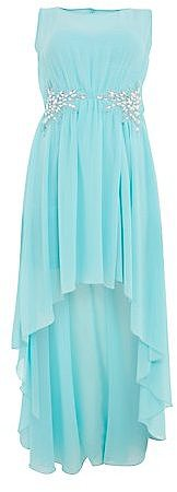 Mint Green Embellished Loop Back Dip Hem Prom Dress