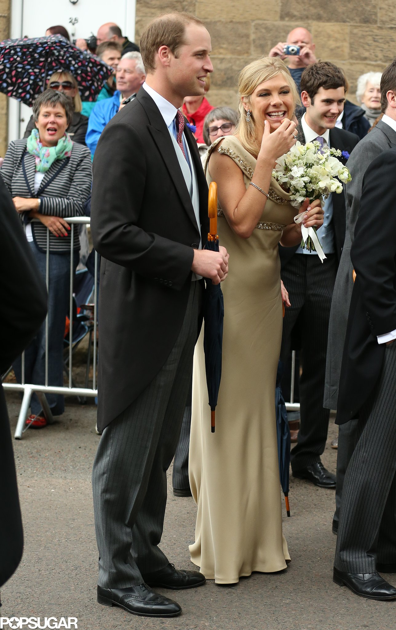 Prince William had a laugh with Prince Harry's ex-girlfriend Chelsy Davy at the royal wedding of pals Lady Melissa Percy and Thomas Van Straubenzee in Northumberland, England.