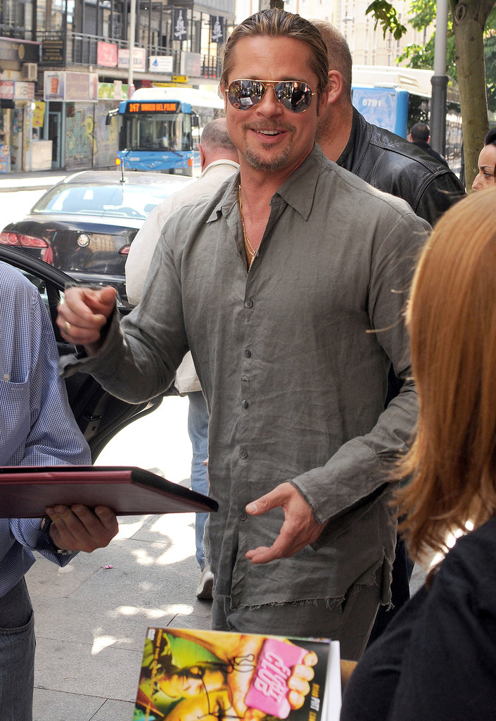 Brad Pitt greeted fans in Madrid, Spain, after marking his biggest box office opening weekend ever with World War Z.