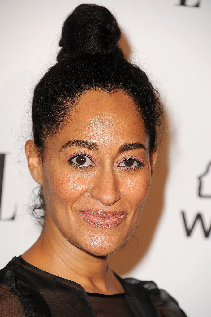 Actress Tracee Ellis Ross pulled her thick curls into a high bun, which is the perfect option for second-day hair.