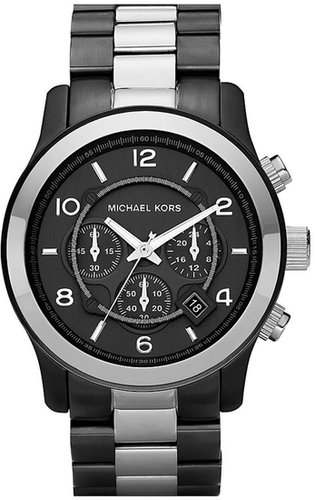 Michael Kors 'Large Runway' Two Tone Chronograph Watch, 45mm