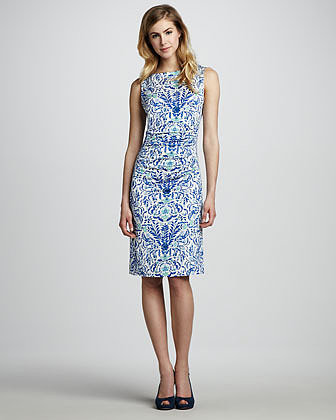 Tory Burch Floral-Print Sleeveless Jersey Dress, Blue Print