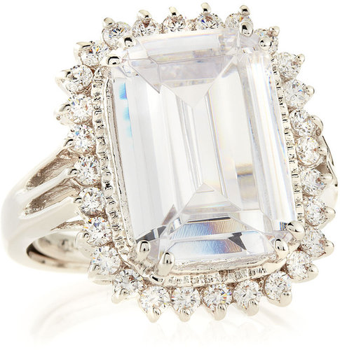 CZ by Kenneth Jay Lane Emerald-Cut Pave CZ Ring
