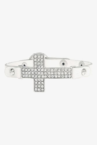 White & Rhinestone Cross Faux Leather Cuff