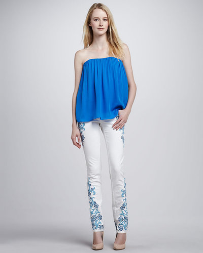Alice + Olivia Embroidered Skinny Jeans