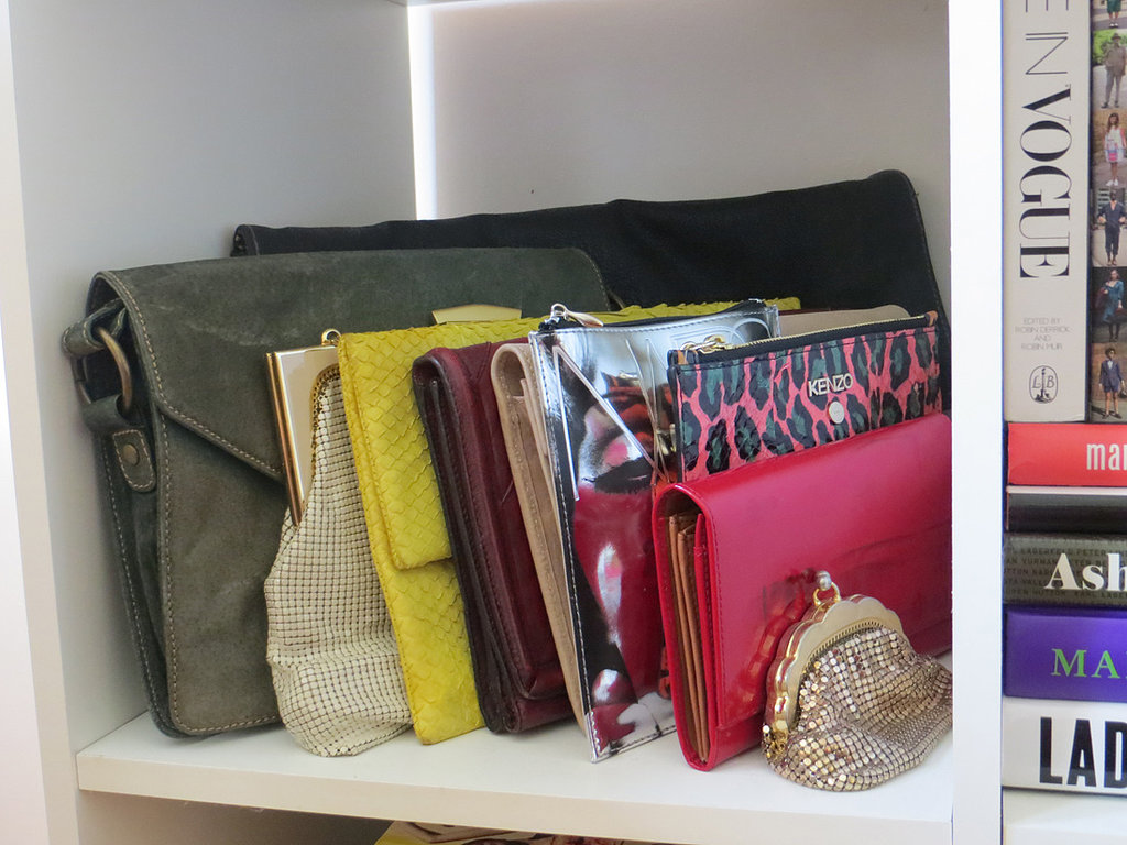 A selection of my favourite clutches, most of which are vintage but in great condition. The Kenzo near the front is a recent splurge, but I've already used it many times. The oversize black leather clutch at the very back was nabbed for $1 — brand new, with tags — in a vintage store in Gloucester. Gotta love a road-trip bargain.