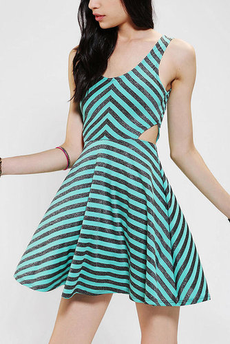 Sparkle & Fade Cutout Stripe Skater Dress