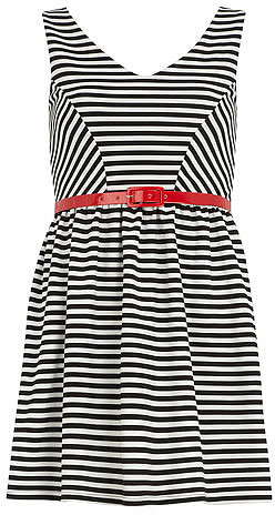 White striped skater dress