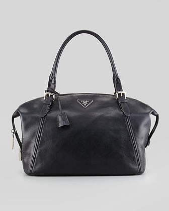 Prada Soft Calfskin Duffle Bag, Black